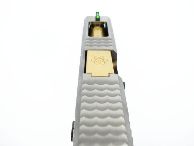 WE-Tech EU-19 T3 Silver Slide, Gold Barrel, Black Frame