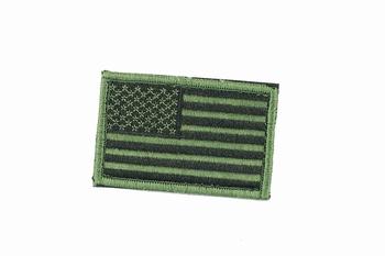USA Flag Velcor Badge OD Black