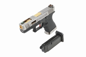 WE-Tech EU-19 T3 Silver Slide, Gold Barrel, Black Frame