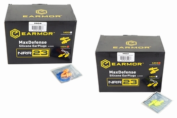 EARMOR M03-M04 MaxDefense Silicone Earplugs Box 100pcs